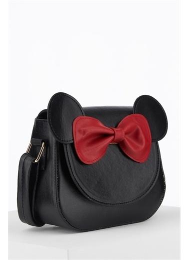 DeFacto Kız Çocuk Minnie Mouse Lisanslı Suni Deri Çapraz Çanta Siyah